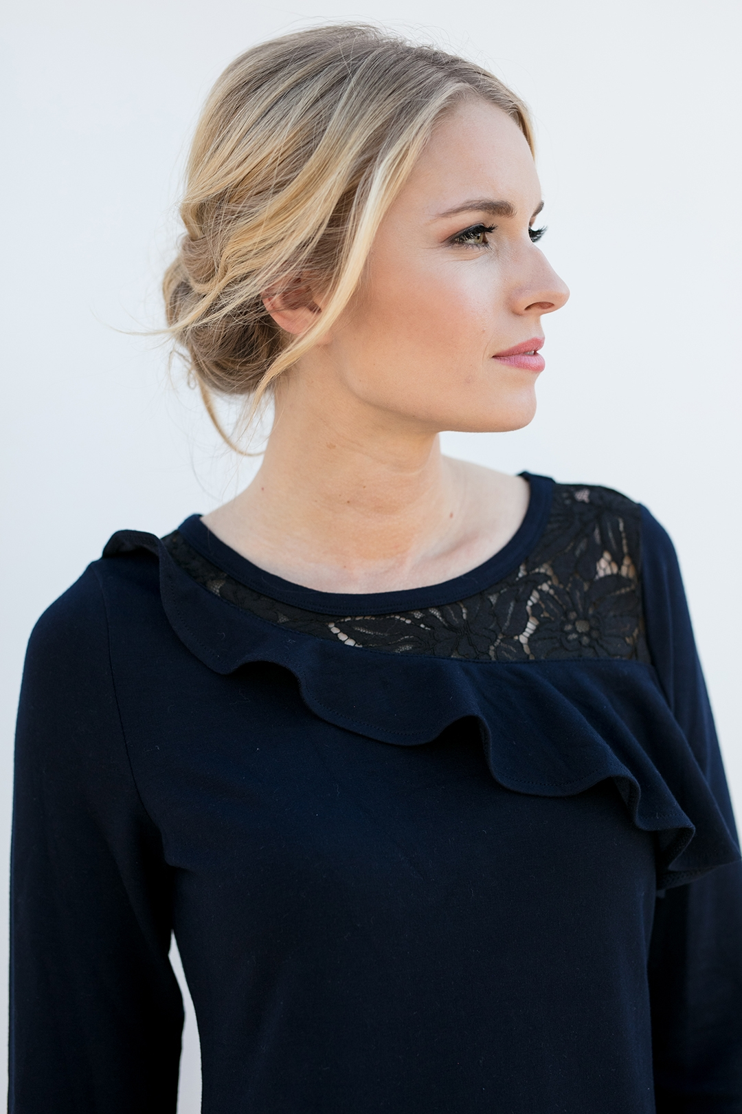 up close view of a classy popover shirt, the Maggie in Ink